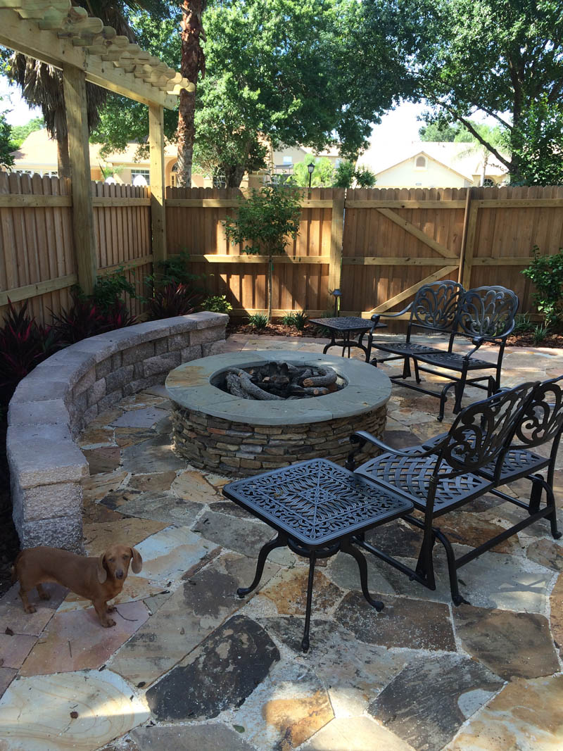 orlando outdoor fireplace and firepit installation the landscape